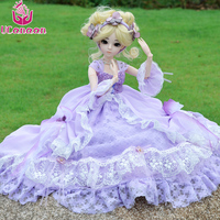 UCanaan 1/3 Ball Jointed BJD Doll Purple Princess Dress Dolls With Full Outfits Beauty Girl SD Doll Silicone Reborn Kids Toys