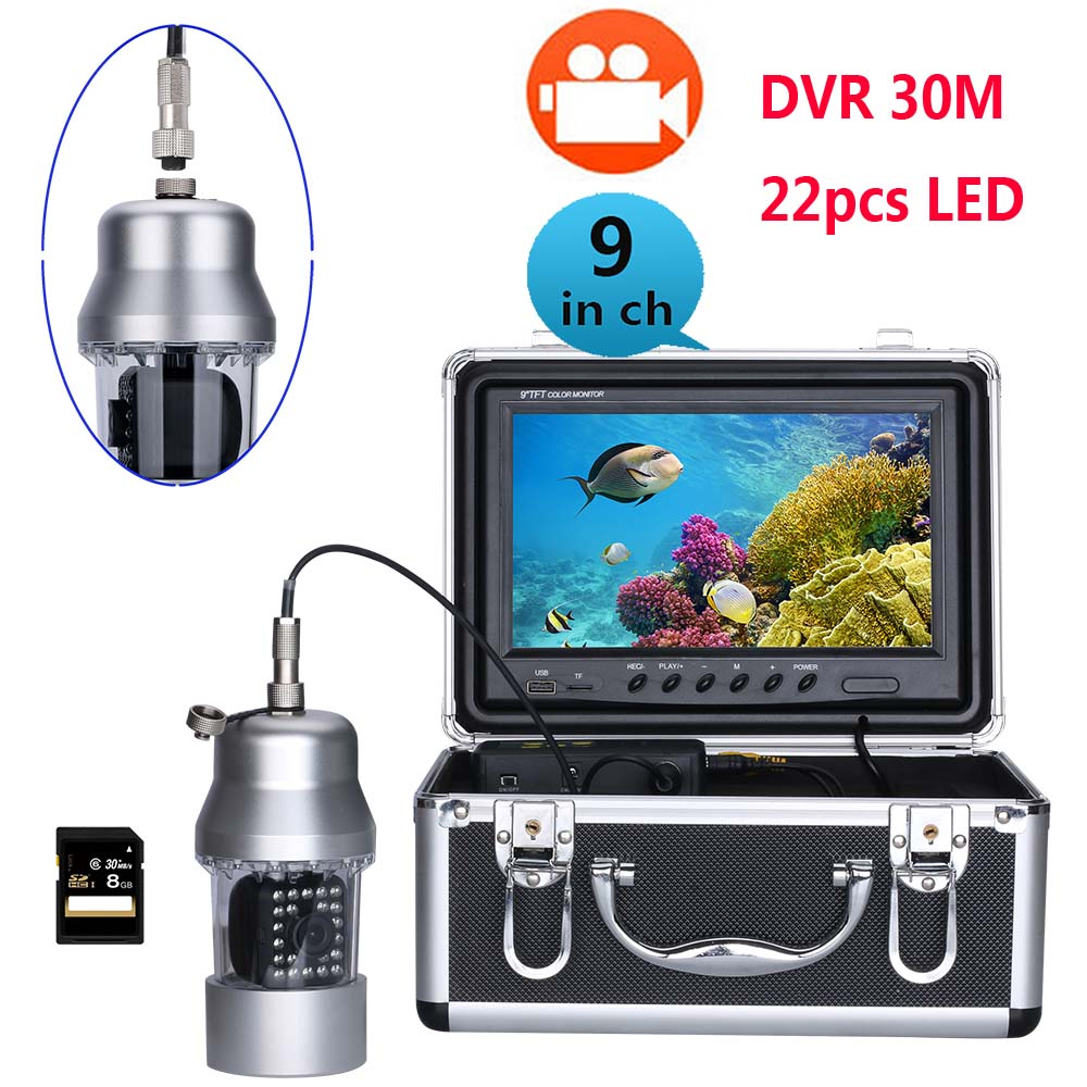 """30m 9""""inch Dvr Recorder Underwater Video Fishing Camera System 0-360 Degree View, Remote Control, 22 White Led"""