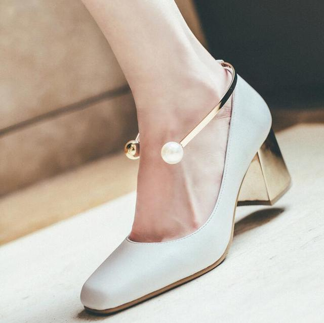 Chic Ankle Pearl Embellished White Leather Shoes Women S Gold Heel Square Toe Office For Work