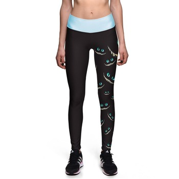 New 0014 Sexy Girl Leggings Alice in Wonderland Cheshire Cat Prints High Waist Running Fitness Sport Women Yoga Pants Plus Size