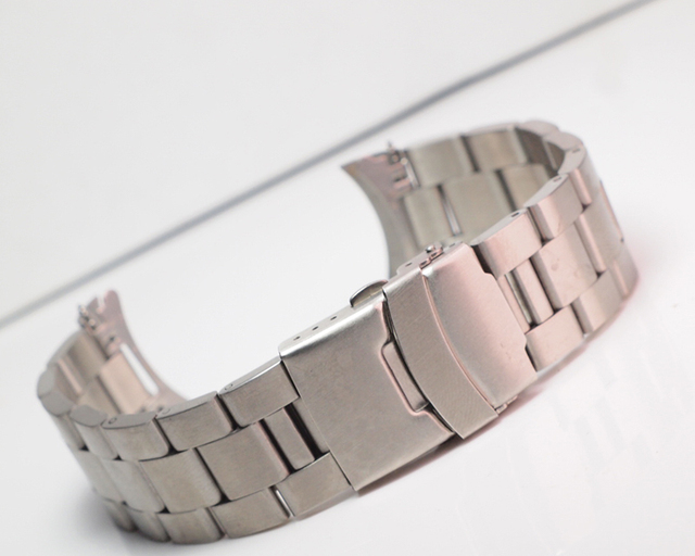 20/22mm Stainless Steel Watchband Curved End Strap Fold Buckle Clasp Wrist Belt