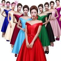 녹색 빨간색 레이스 어두운 보라색 들러리 여성 정장 v 목 아름다운 차 드레스 블루 신부 메이드 겸손한 여자 드레스 B2644