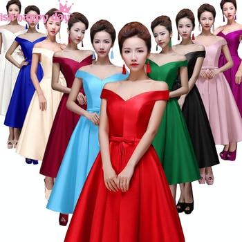 green red lace up dark purple bridesmaid women formal v neck beautiful tea dress blue brides maid modest girls dresses B2644