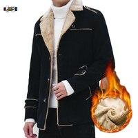 00e8bce906228 Idopy Mens Winter Fleece Casual Slim Fit Bomber Flight Business Peacoat  Classic Fur Lined Jacket Warm