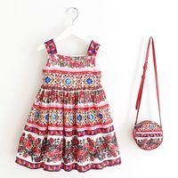 Girls Dress with Bag 2018 Brand Toddler Girl Summer Clothes Kids Costumes Floral Print Robe Princesse Fille Children Dress Kids