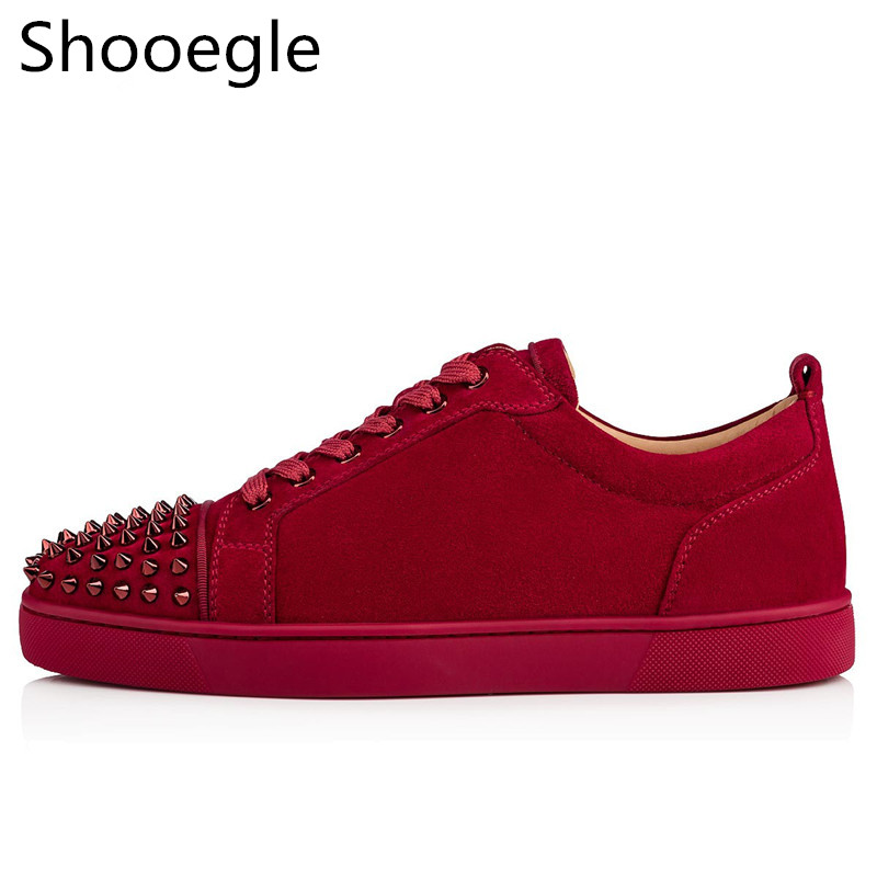 Spring Suede Leather Men Shoes Casual Rivets Stud Flat Shoes Fashion Spike Sneakers Red Black Grey Leather Men Casual Shoes