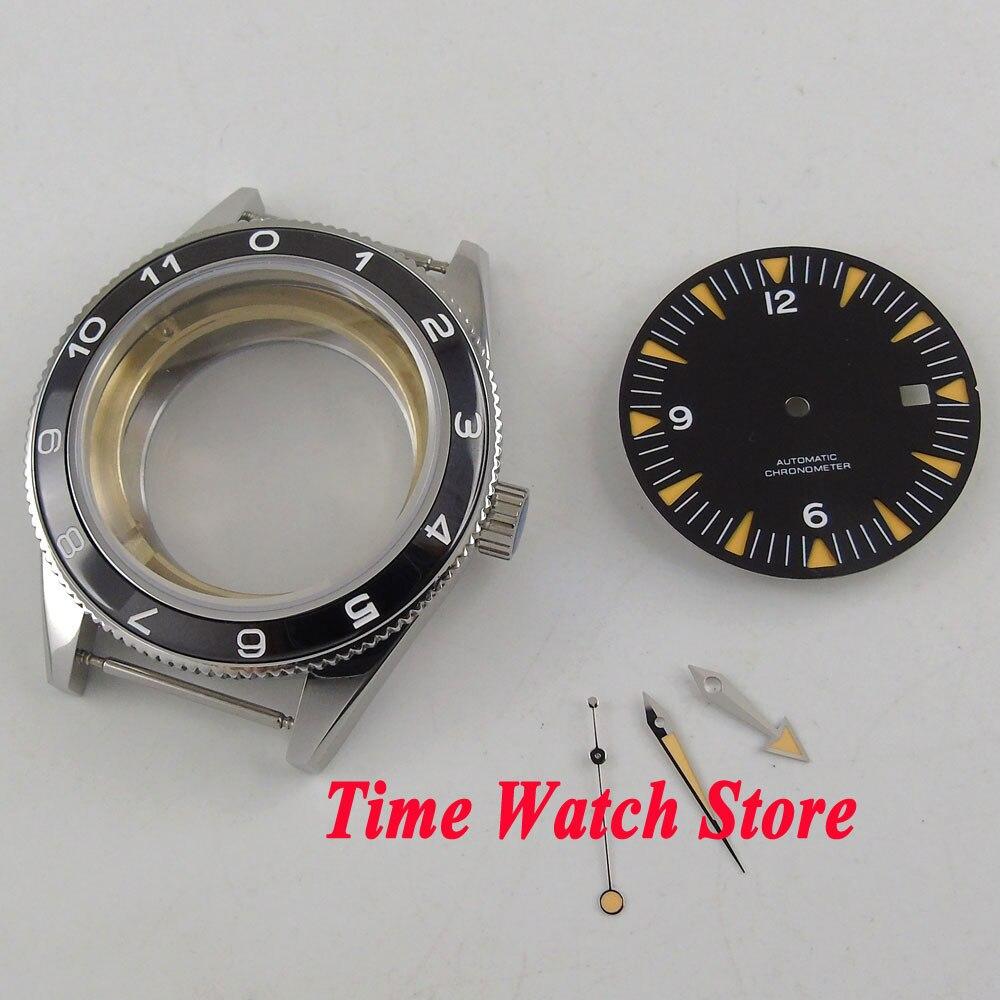Fit ETA 2824 2836 movimento 41mm nero lunetta in ceramica vetro zaffiro 5ATM cassa dell'orologio + quadrante nero + mani libere c136