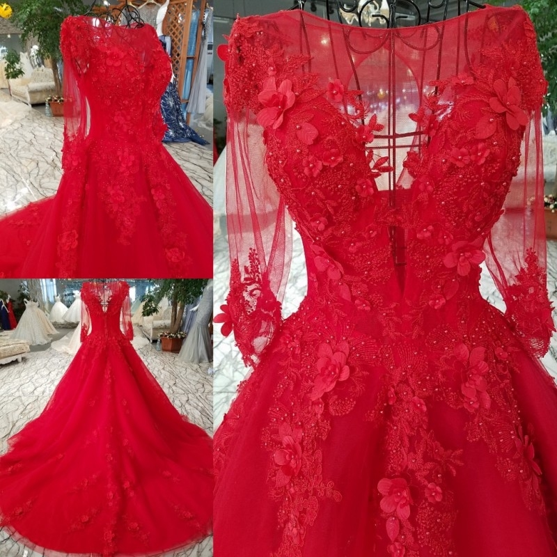 2018 Red wedding dress o-neck cap sleeve lace up ball gown sweep train lace up vestido de fiesta shopping online real photo