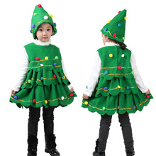 ship from us winter warm clothes hot sale children clothing toddler kids baby girls christmas tree costume dress tops party vesthat outfits - Christmas Tree Costume