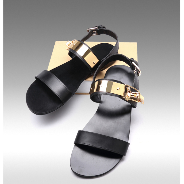 1fa970dbb5e3 Gold Buckles Mens Cool Sandals Slippers 2018 Black Italian Leather Male Dress  Sandals Flip Flops Straps Mens Elegant Runway Shoe