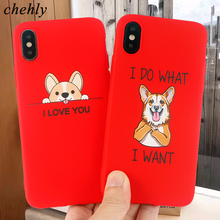 Funny Cartoon Phone Case for iPhone X XR XS Max 8 7 6 S Plus Corgi Dog Cases Soft Silicone Fitted Mobile Accessories Cover
