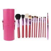 Hot 12Pcs Makeup Powder Foundation Eyeliner Lip Brushes Set With Cylinder Holder Eyeshadow Makeup Tools