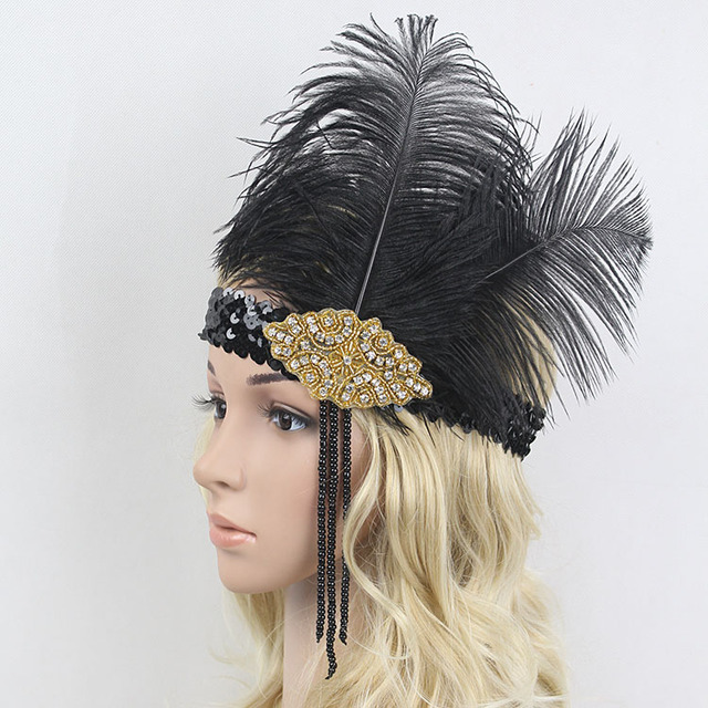 Black Sequin Flapper Feather Headband