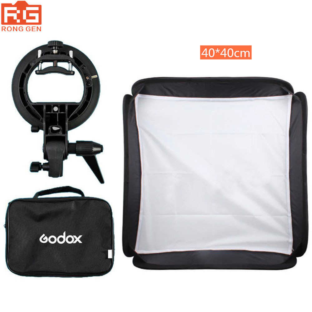 Godox Adjustable Studio Photo Light Flash Softbox 40x40 cm 15 15 S type Bracket Mount Lighting