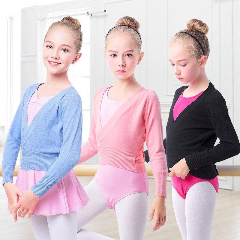 Winter Wrap Ballet Sweater Cardigans Girls Soft Knitted Dance Leotards Crossover Warm Ballet Coat For Kids