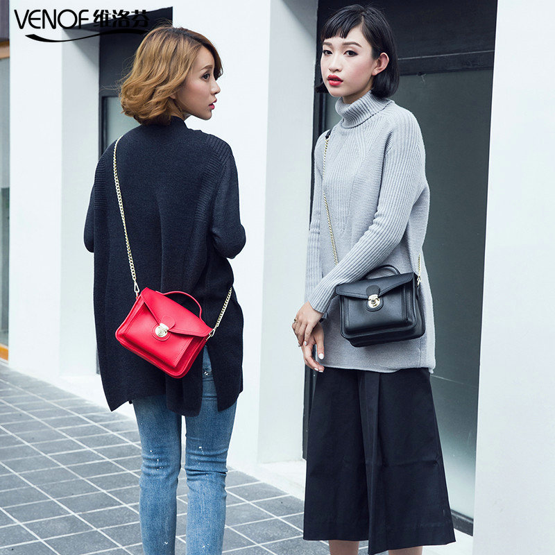 VENOF Small square bags for women Fashion split leather handbag Solid Color Mini ladies Messenger bag chain women Shoulder Bags купить