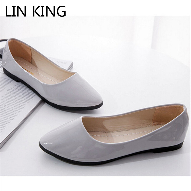LIN KING Shoes Women Casual Shoes Pu Leather Solid Slip On Lazy Loafers Shallow Mouth Comfortable Pregnant Woman Single Shoes lin king fashion pu leather women flats shoes round toe loafers comfortable slip on casual shoes solid breathable girl lazy shoe