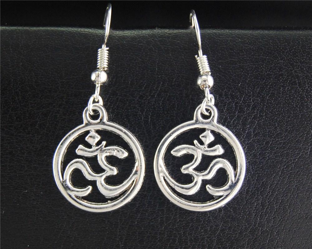 1 Paar (2 Stücke) Tibetischen Silber Runde Om/ohm/3d Zeichen Baumeln Ohrringe Handmade Diy Schmuck Zu Verkaufen