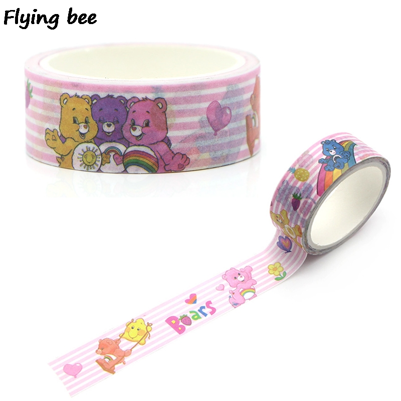 Flyingbee 15mmX5m Paper Washi Tape Creative Theme Kawaii Adhesive Tape DIY Scrapbooking Sticker Label Masking Tape X0266