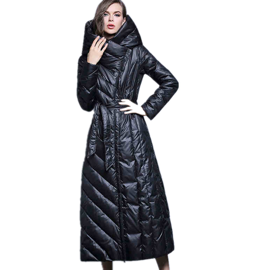 Plus size 7XL duck   down     coat   fashion hooded long   down   jacket women's over the knee Slim thicker warm WHITE DUCK   coat