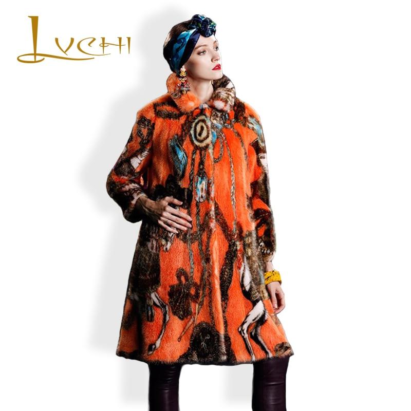 LVCHI kadının Ceket Boho Moda Kadın Soğuk Vizon Ceket Hakiki Asil - Bayan Giyimi - Fotoğraf 1