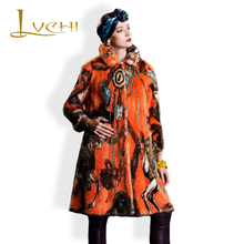 LVCHI Woman's Coat Boho Fashion Female Cold Mink Jacket Genuine Noble Skirt Style Leather Embroidery 2017 Winter Mink coats