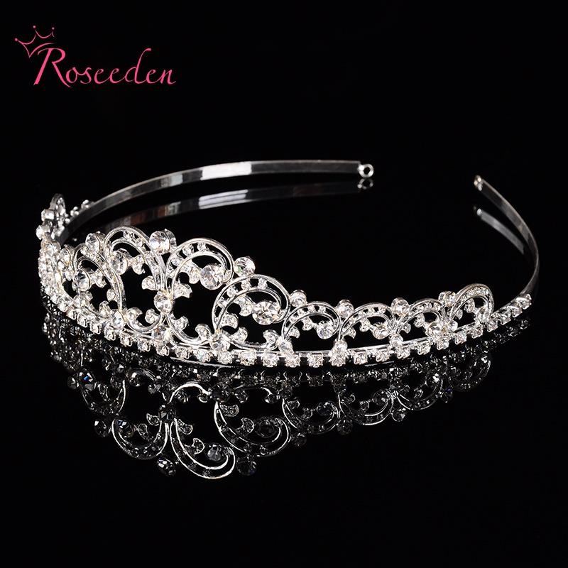 8df82c3f639 US $8.71 19% OFF Vintage Clear Crystal Tiara Crown Silver Plated Alloy  Rhinestone Tiaras Headwear For Wedding Bridal Hair Accessories RE117-in  Hair ...