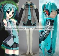 Anime Vocaloid Cosplay Hatsune Miku Costume With Ponytails Wig Set Freeshipping