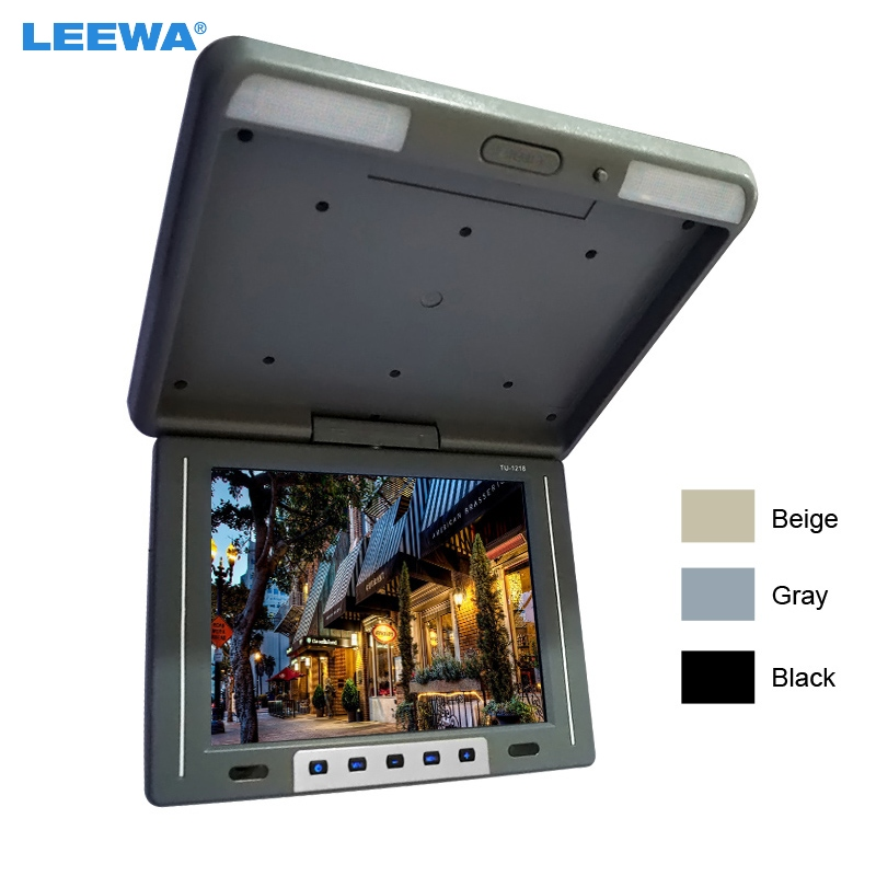 LEEWA 12.1 inch Flip Down TFT LCD Monitor Car/Bus Monitor Roof Mounted Monitor 2-Way Video Input 3-Color Black, Grey #CA1944 12v truck bus 17 inch tft lcd roof mounted monitor flip down monitor for car dvd player tv usb sd fm vga speaker ca1294 12v page 5 page 9