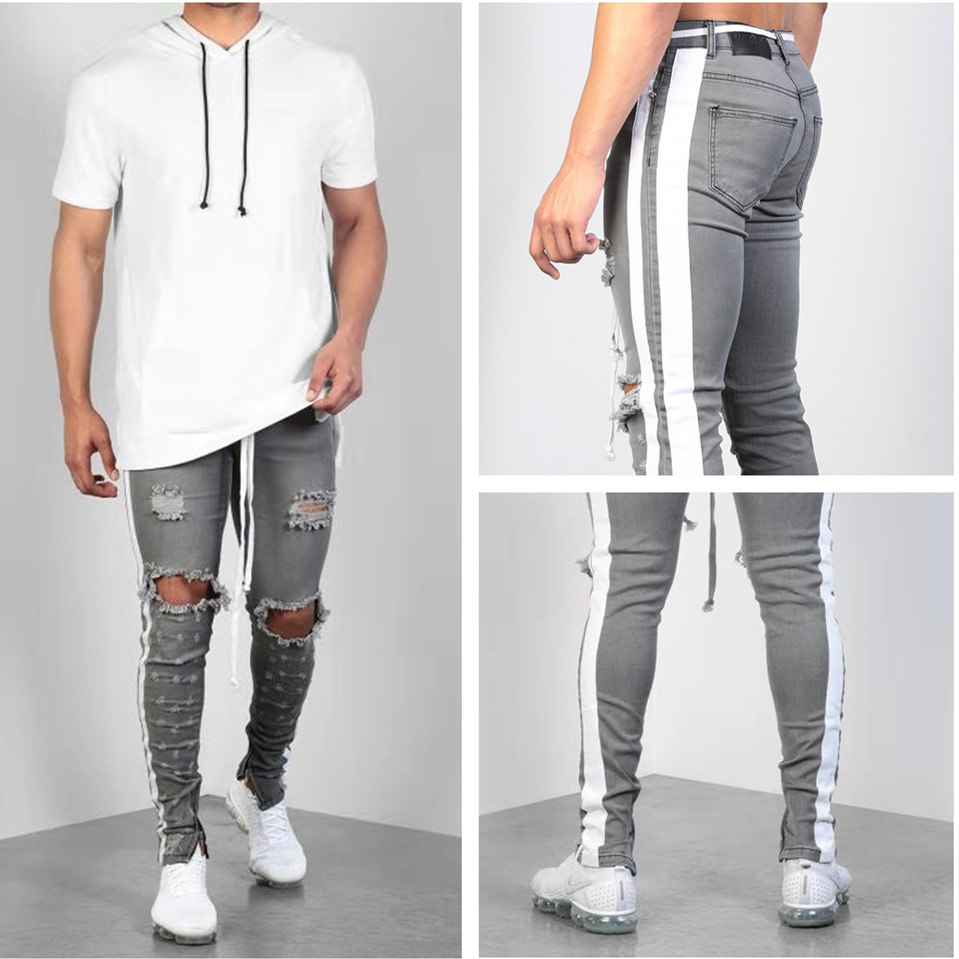 Fashion Streetwear Men S Jeans Gray  Skinny Male Ripped Jeans Side Taped Homme Hip Hop Denim Pants