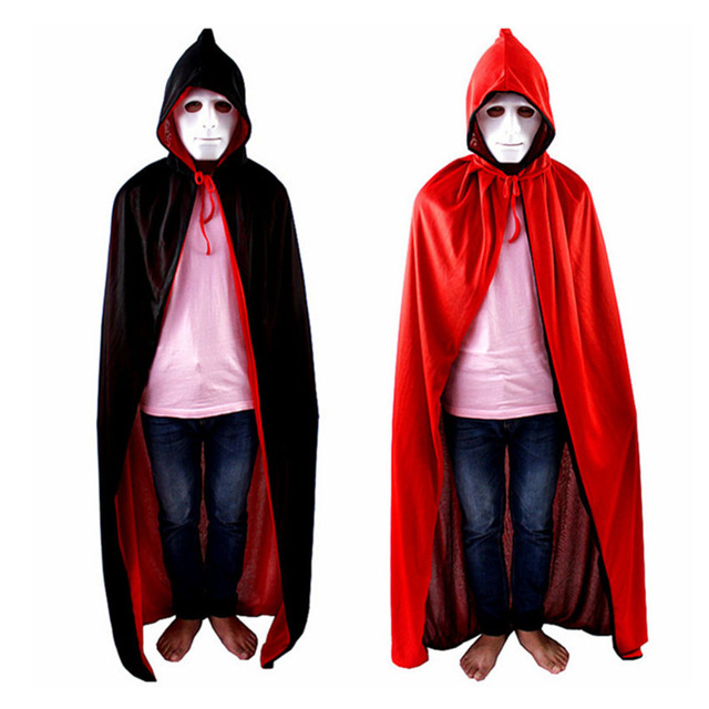 Halloween Costume Men Collar Death Cloak Gown Red Black 2 Side ...