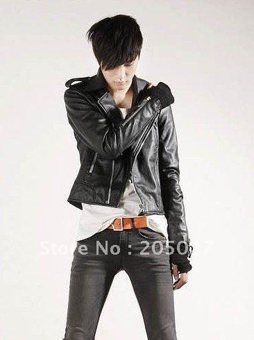 autumn motorcycle slim outerwear mens slim leather jacket stand collar free shipping wholesale from factory no.si65