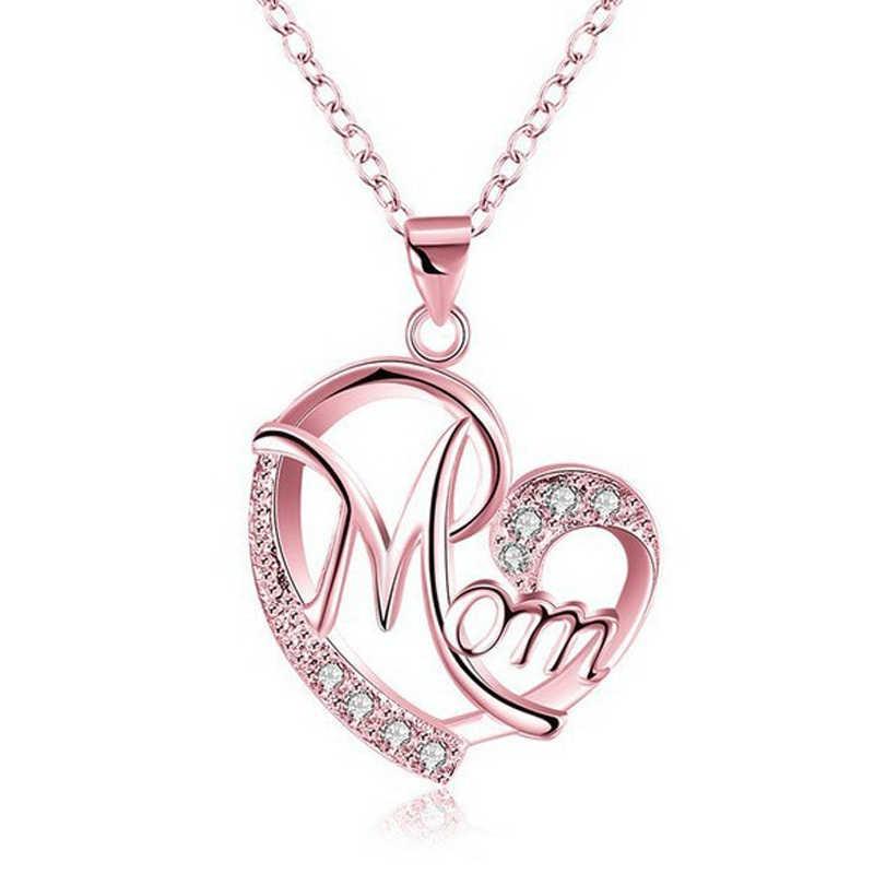 Cadena de moda gargantilla corazón colgante declaración cristal amor mamá regalo carta de mamá Collar para mujeres collares con iniciales joyería