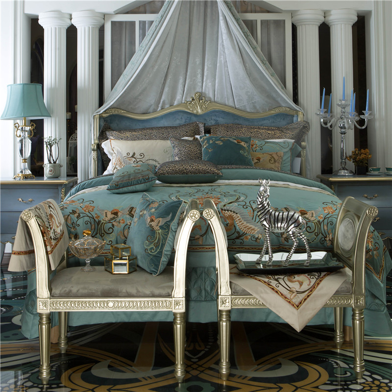 Luxury Royal Embroidery 120S/1000TC Egyptian Cotton Palace Bedding Set Blue Duvet Cover Bed Sheet Bed Linen Pillowcases 4pcs