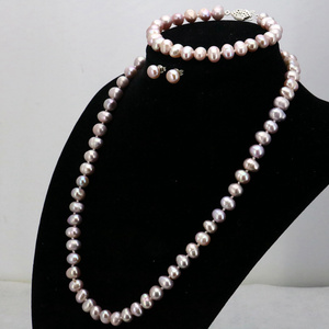 Image 5 - WUBIANLU Purpel Pearl Necklace Sets Fish Clasp 7 8mm Necklace 18 Inch Bracelet 7.5 Inch Earring Women Jewelry Making Design