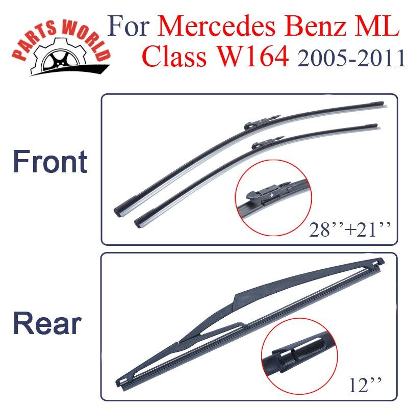 Prix pour Groupe En Caoutchouc Avant Et Arrière D'essuie-Glace Lames Pour Mercedes Benz ML Classe W164, 2005-2011, Pare-Brise Essuie-glaces Accessoires de voiture