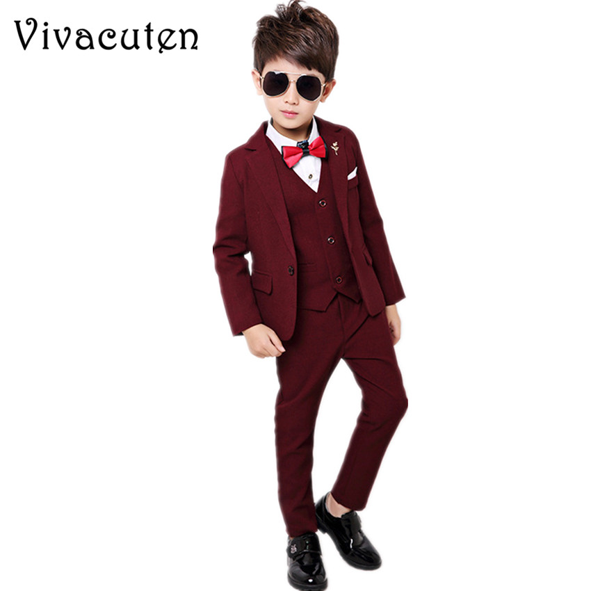Boys Suits For Weddings Dress Kids Gentleman Party Blazer Vest Shirt Pants 4pcs Tuxedo Clothing Set Child Formal Clothes F022 недорго, оригинальная цена