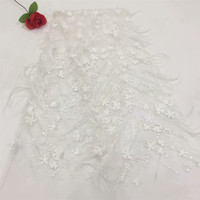 Unique white 3d Russian lace fabric feather African gauze lace fabric HJ448 2
