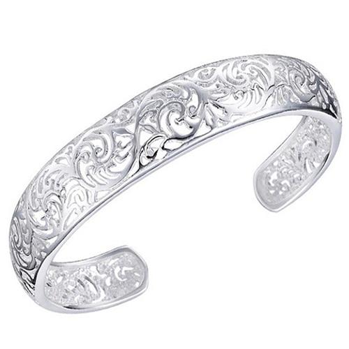 Women's Silver Plated Bezel Hollow Cuff Bangle Open Bracelet