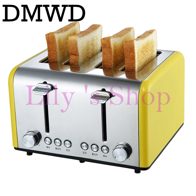 DMWD Household electric Toaster Baking Bread sandwich Maker commercial Breakfast Machine Toast grill oven 4 Slices pieces EU US цена