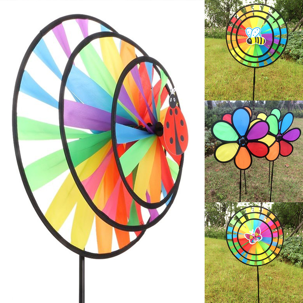 1 Pcs Colorful Polyester Wheel Windmill For Children Outdoor Activities And Garden Decoration Kids Windmill Toy #20