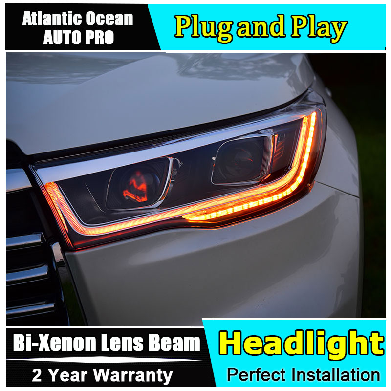 Auto Part Style LED Head Lamp for Toyota Highlander led headlights 2015-2016 FOR Highlander H7 hid Bi-Xenon Lens low beam jgrt car style led headlights for porsche cayenne 2004 2006 for head lamp led drl lens double beam h7 hid xenon bi xenon lens