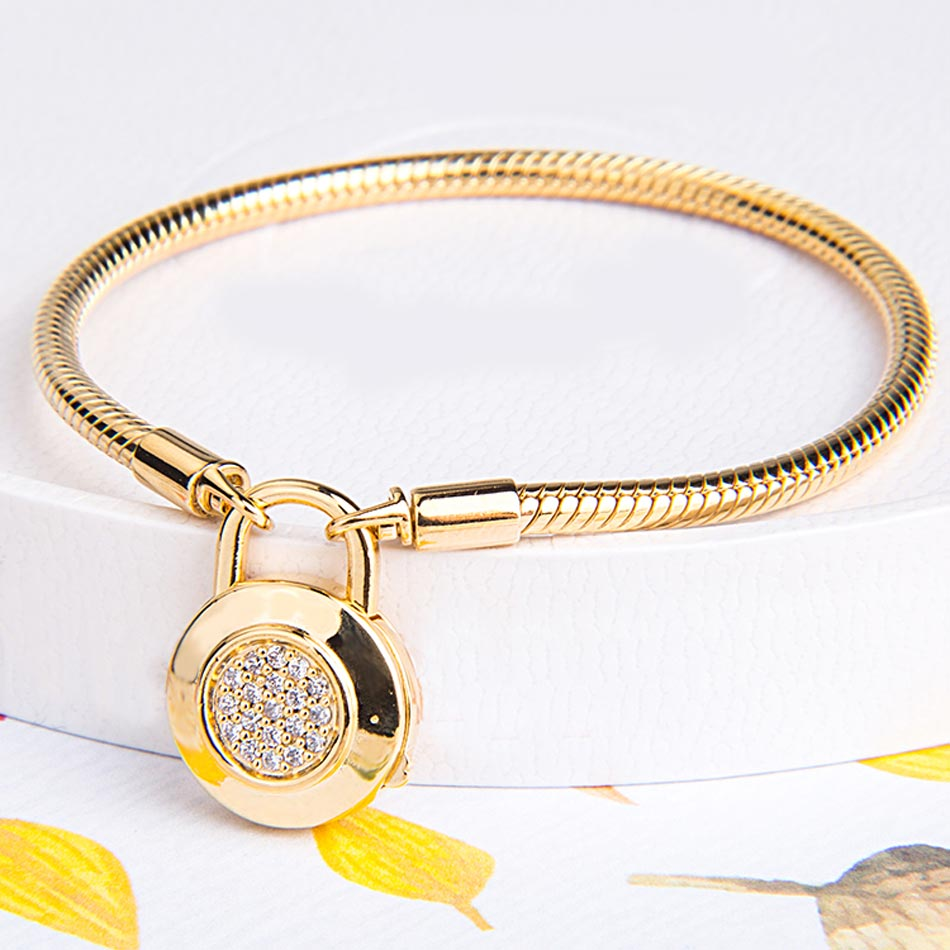 Gold Color Logo Signature Padlock Smooth Snake Bracelet Bangle Fit Bead Charm DIY Europe Jewelry 925 Sterling Silver Bracelet 925 sterling silver pan rose gold hollow crown set clear cz fit smooth signature padlock women bangle bead charm diy jewelry