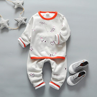 Winter Baby Boys Girls Cute Clothing Child O Neck Plus Velvet Thickening Thermal Underwear Set