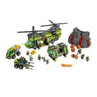 Бела Совместимость Legoe giftse 10642 город вулкан питания вертолет геологических проспект строительные блоки кирпичи Фигурки игрушки