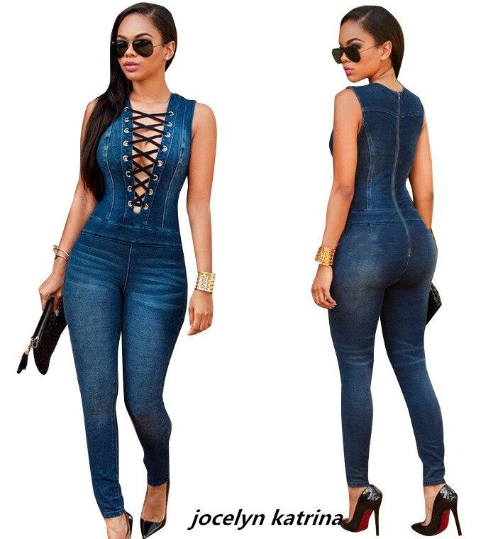 Jocelyn Катрина модный бренд элегантный стиль 2018 без рукавов джинсовые комбинезоны полная длина bodycon комбинезон летние повседневные Комбинезо...