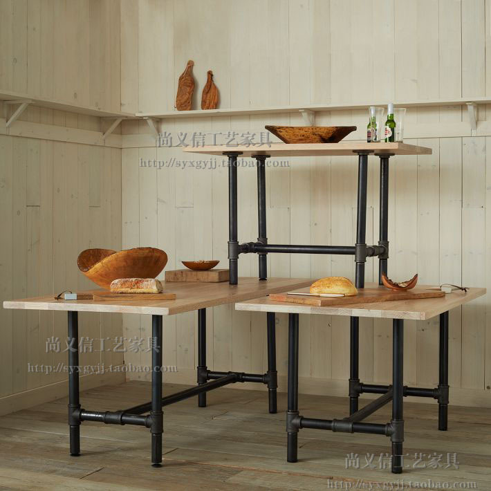 loft industrial moderna minimalista tubos de hierro colgando estilo retro de madera maciza mesa de comedor