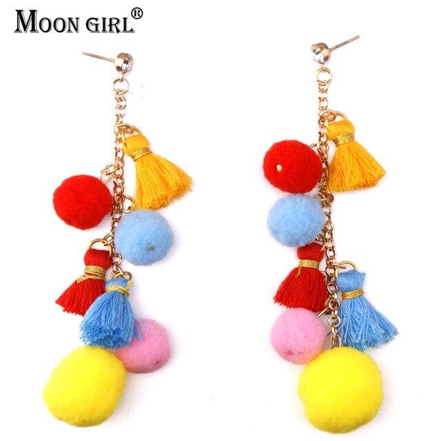 Moon New Trending Bohemia Women S Tel Earrings Fashion Jewelry Accessories Cotton Beads Ethnic Dangle Earring