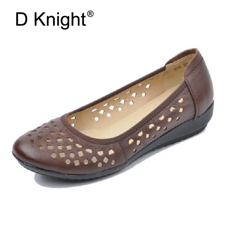 Ladies Genuine Leather Flat Shoes Woman Silp On Loafers Summer Cutout Ballet Flats Women Round Toe Causal Moccasins Mother Shoes kuyupp big size flat shoes women foral print leather shoes slip on ballet ladies shoes summer flats moccasins loafers ydt913
