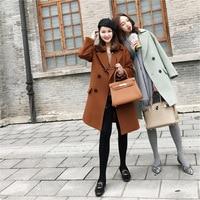 SWYIVY Woman Wool Coat Mid Long 2018 Autumn Winter Female Fashion Woolen Jacket Coat Solid Color Warm Lady Outwear Coats Blends